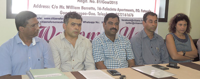 CFS members addressing the media in Margao.