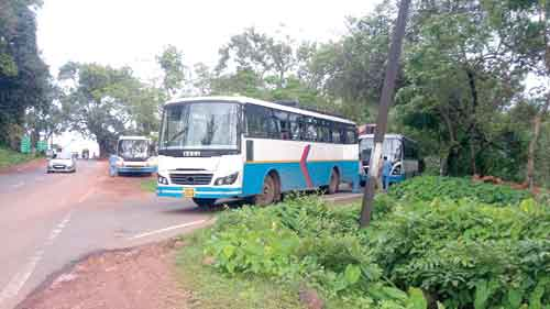 KTC buses parked at Polem check post due to the ongoing strike of Karnataka buses since the last two days.