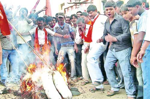 SRS activists stage a protest and burn an effigy of Parrikar at a rally in Davangere, about 100 kms from Dharwad-Karnataka.LOUIS RODRIGUES