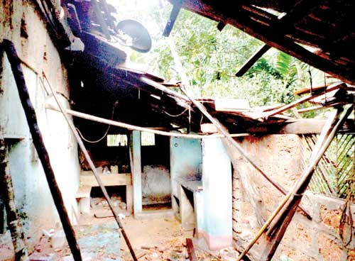A house in Dhavali-Ponda which was damaged due to heavy rains that lashed the State for the last five days.