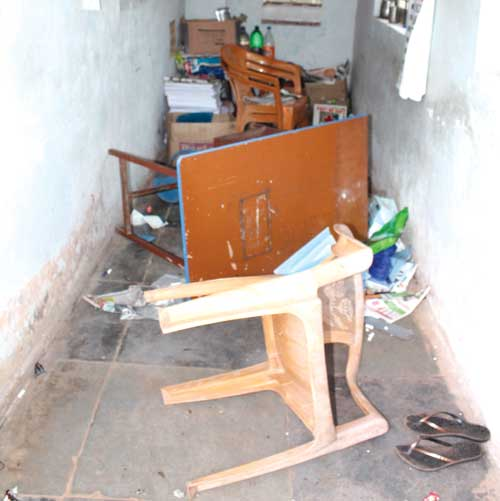 The ransacked cabin of the school.
