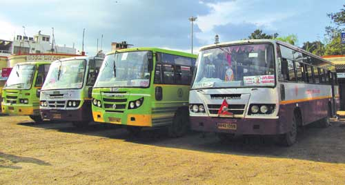 The North West Karnataka Road Transport Corporation (NWKRTC) buses at the Central Bus Terminus (CBT) in Belgaum. BY Louis Rodrigues
