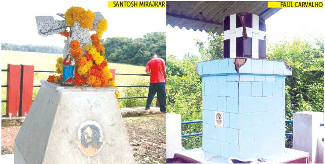 The Alma Khuris which was found damaged at Chandor village (Right) The cross that was damaged by miscreants at Cacumodi-Xeldem in Quepem on Sunday.