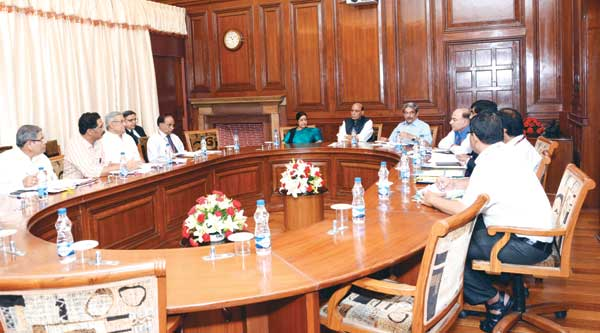 Chief Minister Manohar Parrikar and External Affairs Minister Sushma Swaraj at the meet convened by Home Minister Rajnath Singh in Delhi to discuss the citizenship issue. Also present was Commissioner for NRI Affairs, Dr Wilfred Mesquita.