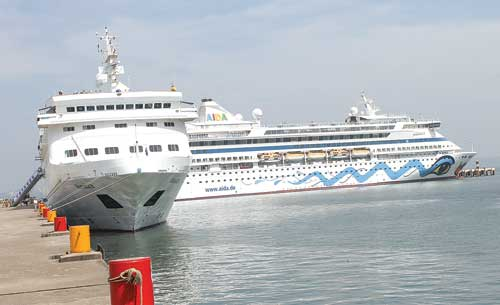 Two cruise liners 'M V Aida' and 'M V Voyager' at MPT cruise terminal.