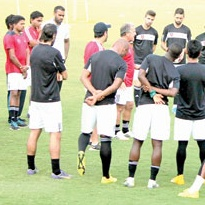 FC Goa head coach Zico instructing the team during a training session, at Tilak Maidan, Vasco, on Tuesday