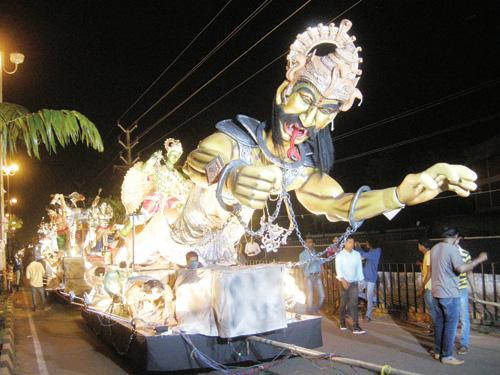 A float wends its way along the Colva Circle-Ravindra Bhavan road at the Madgao Shigmotsav Samiti float parade on Friday patronised by MLAs Digambar Kamat and Vijai Sardesai.