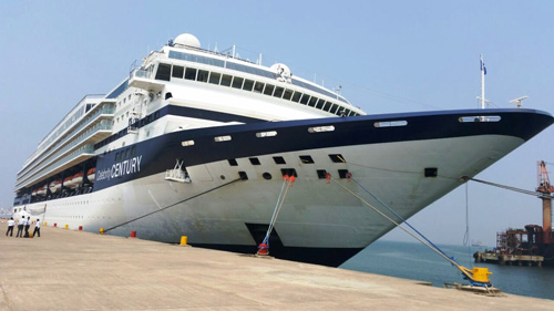The luxury cruise liner Century that called at Vasco port on Sunday morning.