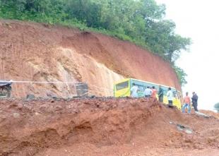 Massive landslide on NH at Kerya