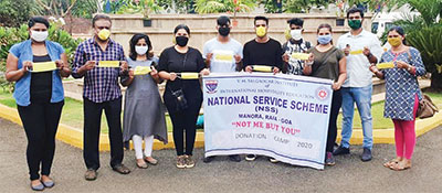 Students of VMSIIHE donate masks to residents of Raia, spread awareness on hygiene guidelines