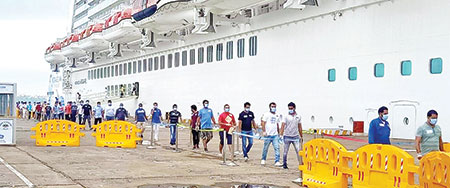 Seafarers reach MPT cruise terminal from Norwegian cruise liner